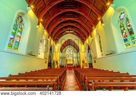 Fremantle, Western Australia - Jan 2, 2018: Central Nave Interior Of St Johns Anglican Church Or St