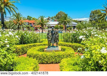 Fremantle, Western Australia, Australia - Jan 2, 2018: Statues Of Children, One Of Monuments Of Frem