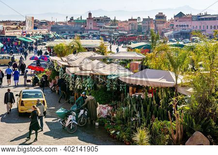Marrakesh, Morocco - January 23, 2019: Jamaa El-fna Market Square In Marrakesh, Morocco, January 23,