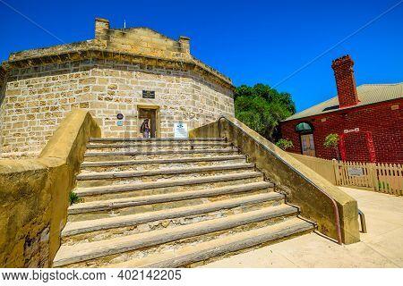 Fremantle, Western Australia, Australia - Jan 2, 2018: Tourist Visits The Round House, A Former Aust