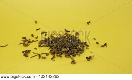 Close Up Magnifying Glass In Hand Examines Green Tea Leaf. Concept Of Research Tea In Laboratory, To
