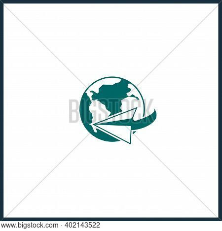Earth Globe Icon Of The World. Round The World Logo
