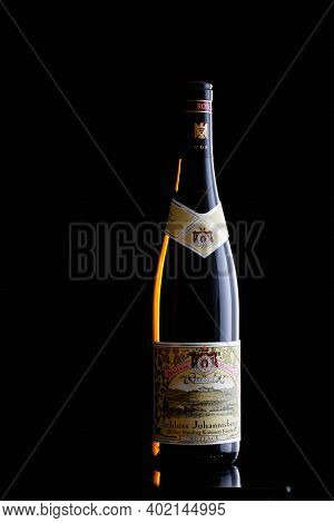 Prague,czech Republic -  6 January, 2021: Bottle Of Riesling. Since 1720 Only Riesling Has Been Cult