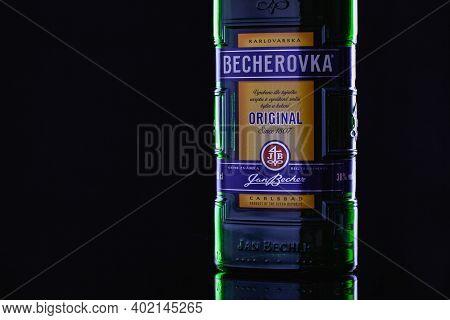 Prague,czech Republic - 10 December,2020: Bottle Of Becherovka, Formerly Karlsbader Becherbitter, Is