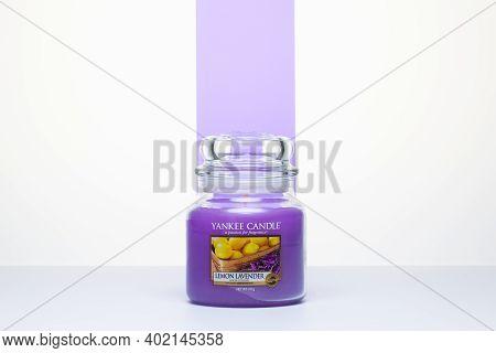Prague,czech Republic - 9 December,2020: Lemon Lavender Yankee Candle On The White Table. Yankee Can