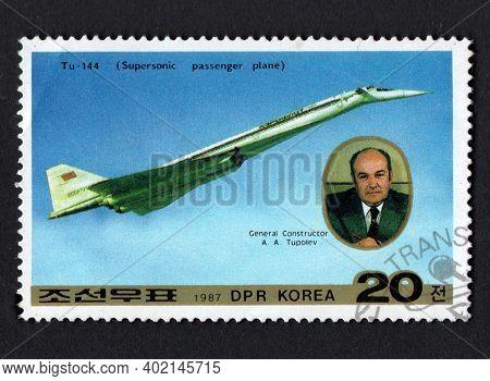 Dpr Korea - Circa 1987: Post Stamp Dedicated To Soviet Aircraft Aircraft Tupolev. History Of Aviatio
