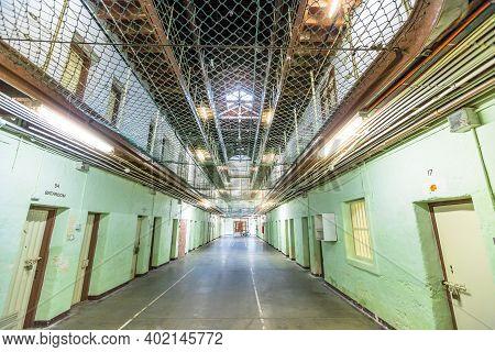 Fremantle, Western Australia - Jan 5, 2018: Interior Corridor Inside Main Cell Block Of Fremantle Pr