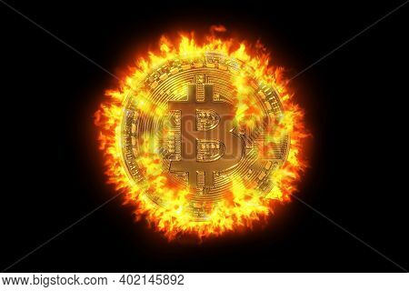 Hot Golden Bitcoin Crypto-currency With Bit Symbol. Isolated On Black Background. Crypto Asset For T