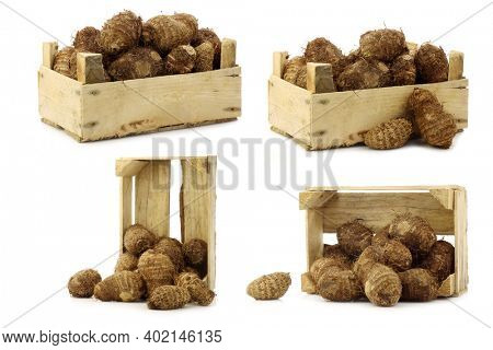 bunch of taro root(colocasia) in a wooden crate on a white background