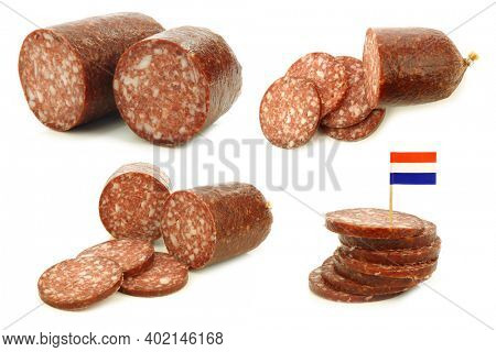 pieces of traditional dutch sausage called