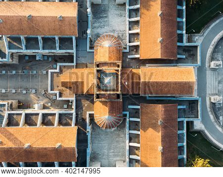 Top View Beautiful Old Villa Resort. Aerial Drone Of Luxury Country Abstract House, Building Of A Pe