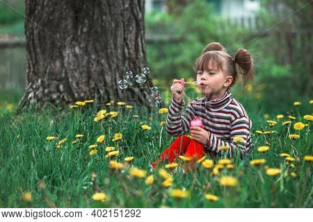 Five-year girl blowing soap bubbles in the green park.