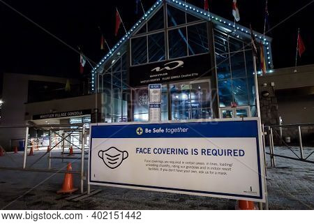 Whistler, Bc, Canada - Dec 27, 2020: Covid 19 Health Advisory Signs In Whistler Village.