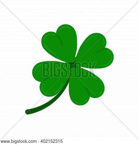 Clover Four Leaf Icon Isolated On White Background. Green Good Luck Shamrock Clover Plant. Flat Desi