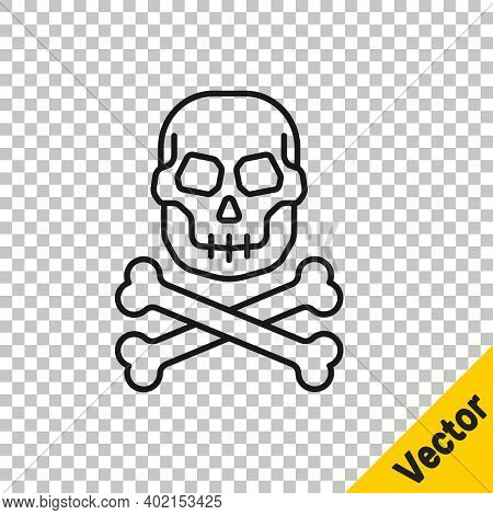 Black Line Skull On Crossbones Icon Isolated On Transparent Background. Happy Halloween Party. Vecto