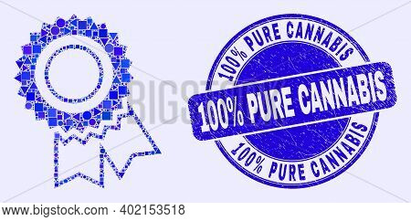 Geometric Award Seal Mosaic Pictogram And 100 Percents Pure Cannabis Seal Stamp. Blue Vector Rounded