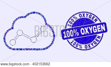 Geometric Cloud Chart Mosaic Icon And 100 Percents Oxygen Seal. Blue Vector Rounded Grunge Seal Stam