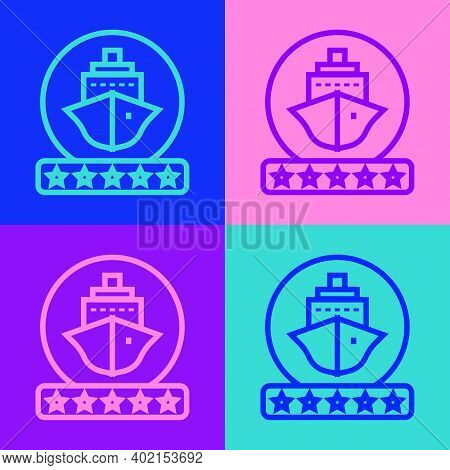 Pop Art Line Cruise Ship Icon Isolated On Color Background. Travel Tourism Nautical Transport. Voyag