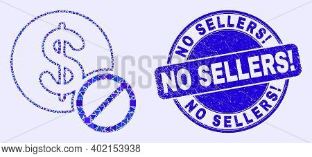 Geometric Forbidden Dollar Mosaic Pictogram And No Sellers Exclamation Seal Stamp. Blue Vector Round