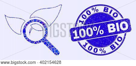 Geometric Search Flora Plant Mosaic Icon And 100 Percents Bio Seal. Blue Vector Round Distress Seal