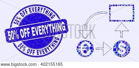 Geometric Currency Conversion Scheme Mosaic Pictogram And 50 Percents Off Everything Seal Stamp. Blu