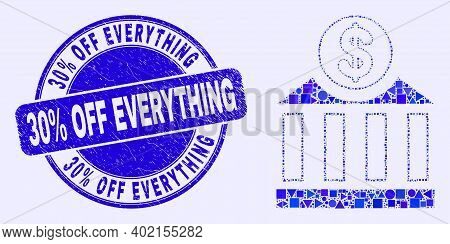 Geometric Dollar Bank Mosaic Icon And 30 Percents Off Everything Watermark. Blue Vector Round Textur