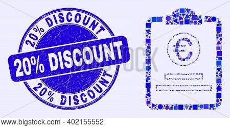 Geometric Euro Price Pad Mosaic Pictogram And 20 Percents Discount Stamp. Blue Vector Round Scratche