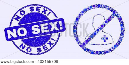Geometric Forbidden Patient Mosaic Pictogram And No Sex Exclamation Stamp. Blue Vector Rounded Grung