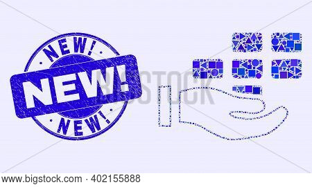 Geometric Hand Offer Bricks Mosaic Pictogram And New Exclamation Watermark. Blue Vector Round Textur