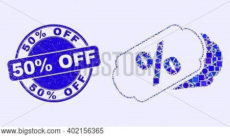 Geometric Percent Tags Mosaic Icon And 50 Percents Off Seal Stamp. Blue Vector Rounded Textured Seal