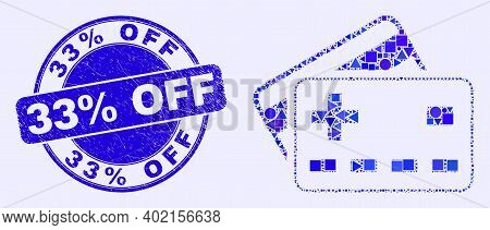 Geometric Plus Bank Cards Mosaic Icon And 33 Percents Off Seal Stamp. Blue Vector Round Scratched St