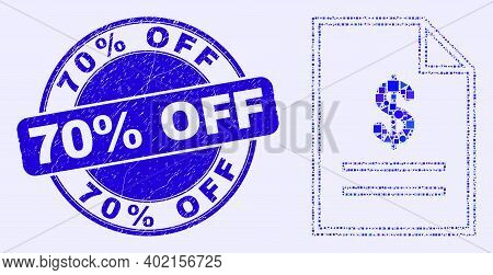 Geometric Price List Page Mosaic Icon And 70 Percents Off Seal Stamp. Blue Vector Round Textured Sea