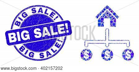 Geometric Bank Dollar Links Mosaic Icon And Big Sale Exclamation Seal Stamp. Blue Vector Rounded Scr
