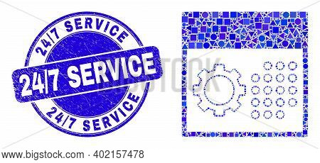 Geometric Calendar Settings Mosaic Pictogram And 24 - 7 Service Seal Stamp. Blue Vector Round Textur