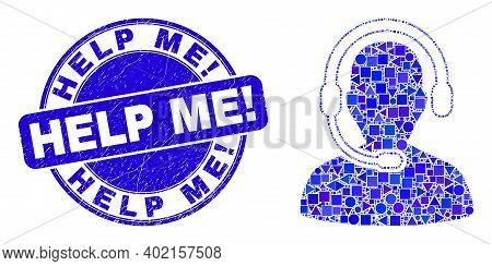 Geometric Call Center Operator Mosaic Icon And Help Me Exclamation Seal. Blue Vector Rounded Scratch