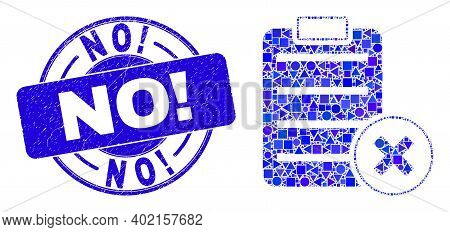 Geometric Delete Report Page Mosaic Pictogram And No Exclamation Seal Stamp. Blue Vector Round Grung