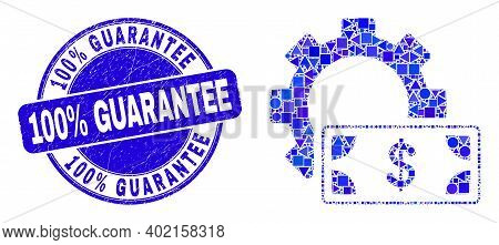 Geometric Financial Settings Gear Mosaic Icon And 100 Percent Guarantee Watermark. Blue Vector Round