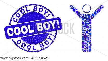 Geometric Hands Up Person Mosaic Icon And Cool Boy Exclamation Seal Stamp. Blue Vector Round Grunge