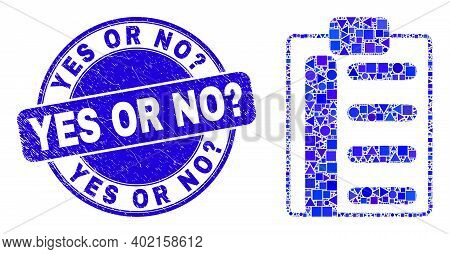 Geometric Pad List Items Mosaic Icon And Yes Or No Question Seal Stamp. Blue Vector Rounded Grunge S