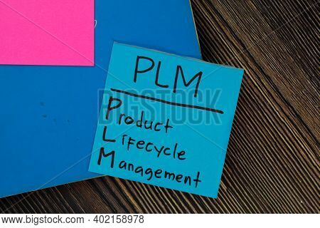 Plm - Product Lifecycle Management Write On Sticky Notes Isolated On Wooden Table.