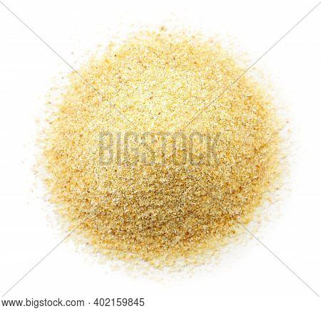 Heap Of Ground Garlic On White Background, Isolated. The View From Top