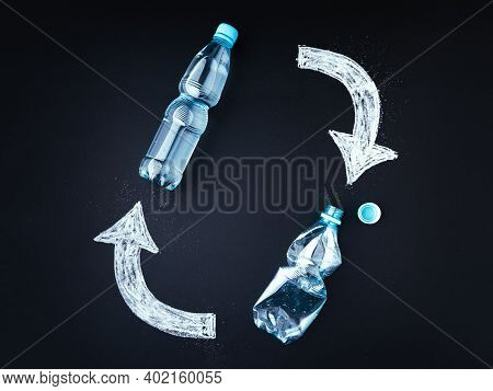 Plastic Bottle Recycling Concept. Blackboard, Plastic Bottles With Chalk Drawed Recycle Symbol.