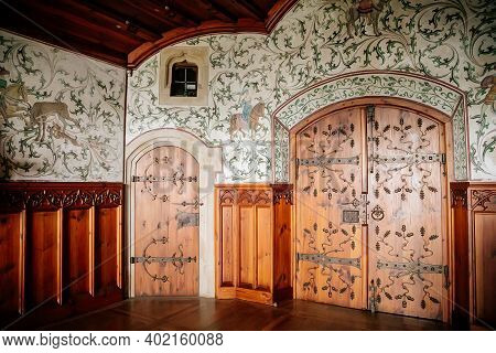 Castle Interior, Fresco Mural Paintings With Hunting Scenes, Floral Ornaments, Medieval Wall And Cei