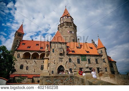 Medieval Majestic And Romantic Gothic Castle Bouzov, Old Fairy-tale Stronghold Of Teutonic Order, Fo