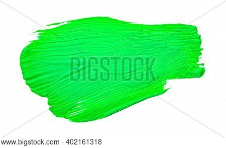 Green Abstract Aquarel Watercolor Background. Colorful Green Acrylic Watercolor Brush Strokes.
