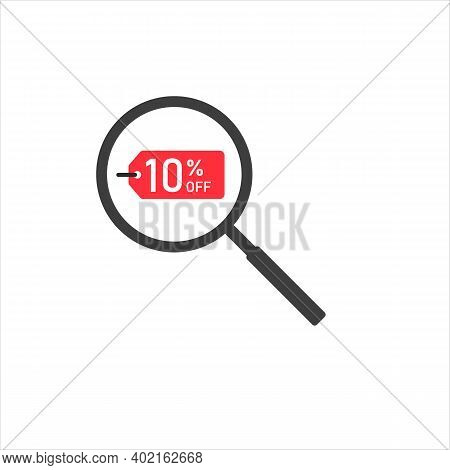 Loupe With Percent On The White Background. Eps 10 Vector File