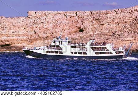Crete Or Kreta, Greece - September 15, 2017: Spirit Of Athos Ship Passenger Vessel Sailing In The Bl