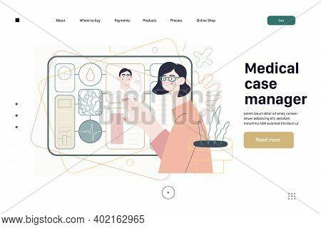 Medical Insurance Template -medical Case Manager -modern Flat Vector Concept Digital Illustration Of