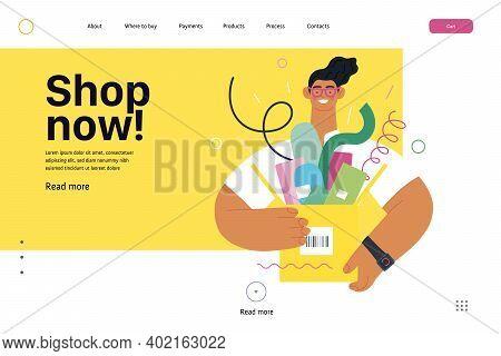 Discounts, Sale, Promotion - Online Shopping Web Template - Modern Flat Vector Concept Illustration
