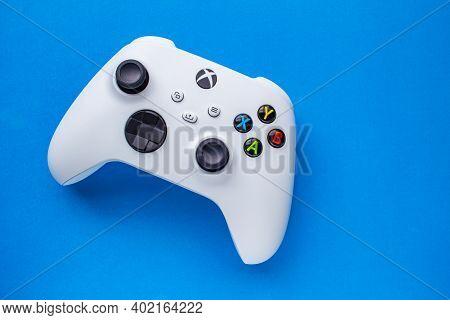Calgary, Alberta, Canada. Jan 06, 2021. A White Xbox Wireless Controller, Robot White. Compatible Xb